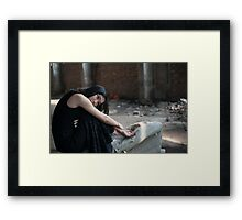 Asian woman in black skirt in abandoned place  Framed Print