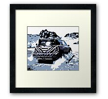 Dirt Car in the Desert Comic Style Framed Print