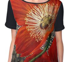 Red Velvet Poppies Chiffon Top