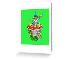 Waving sitting gnome. Greeting Card
