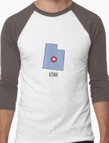 Utah State Heart Men's Baseball ¾ T-Shirt