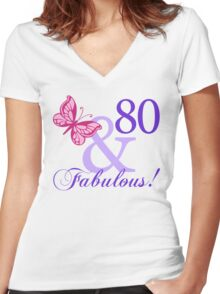 Fabulous 80th Birthday Women's Fitted V-Neck T-Shirt