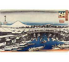 Nihonbashi Clearing After Snow - Hiroshige Ando - c1840 - woodcut Photographic Print