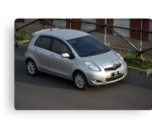 silver colored toyota yaris Canvas Print