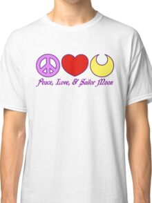 Peace, Love, and Sailor Moon Classic T-Shirt