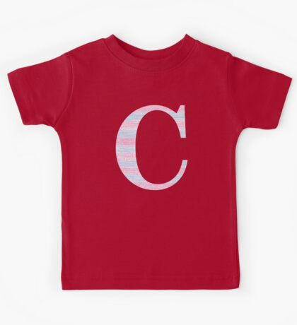 Letter C Blue And Pink Dots And Dashes Monogram Initial Kids Tee