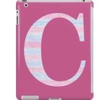 Letter C Blue And Pink Dots And Dashes Monogram Initial iPad Case/Skin
