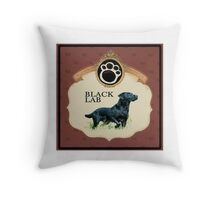 Black Lab Paw Print Throw Pillow