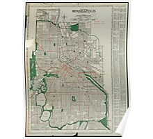 Vintage Map of Minneapolis Minnesota (1921) Poster