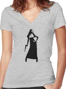Gun totting nun! Women's Fitted V-Neck T-Shirt