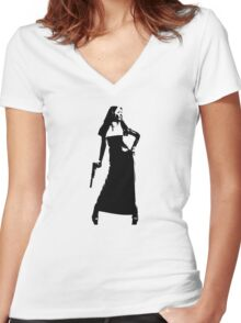 Gun totting nun! Women's Fitted V-Neck T-Shirt