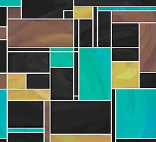 Mondrian Teal Brown Black  by Traci VanWagoner