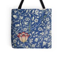 Blue and White Winding Flower Design Tote Bag