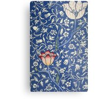Blue and White Winding Flower Design Metal Print