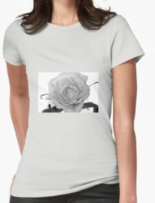 Rose black and white Womens Fitted T-Shirt