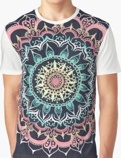 Pink, Cream & Soft Turquoise Glow Medallion on Navy Graphic T-Shirt