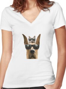 Cat and Dog with Sunglasses Women's Fitted V-Neck T-Shirt