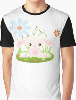 Little Pink Baby Bunny With Flowers Graphic T-Shirt