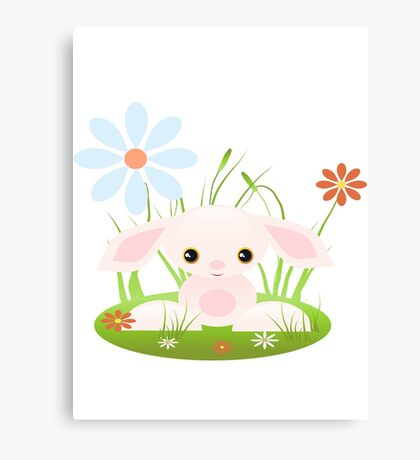 Little Pink Baby Bunny With Flowers Canvas Print