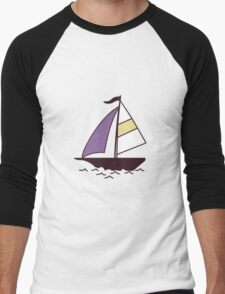 Pattern with color boats. Sailfish background. Cheerful ornament with sailboats Men's Baseball ¾ T-Shirt
