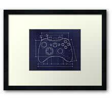 XBOX 360 Controller Top Blue Print Framed Print