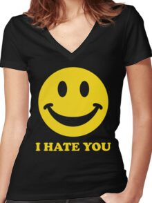 I Hate You Smiley Women's Fitted V-Neck T-Shirt