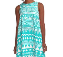 Boho In Blue And White A-Line Dress
