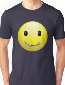 Smiley face with zip mouth Unisex T-Shirt