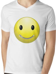 Smiley face with zip mouth Mens V-Neck T-Shirt