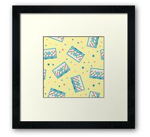 Pattern with retro audio cassettes. Seamless colorful music love and skull retro illustration  Framed Print