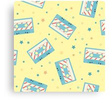 Pattern with retro audio cassettes. Seamless colorful music love and skull retro illustration  Canvas Print