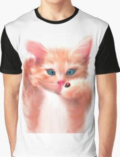 Cute Cat and ladybird Graphic T-Shirt