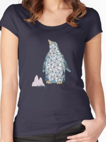 Seamless pattern with little cute penguins on pink background Women's Fitted Scoop T-Shirt