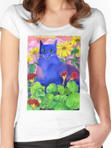 Sunset Cat Women's Fitted Scoop T-Shirt