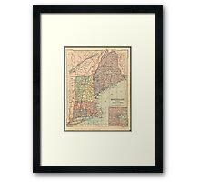 Vintage Map of New England (1880) Framed Print