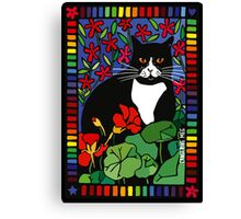 Black and White Cat in the Garden Canvas Print