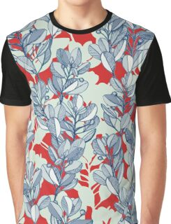 Leaf and Berry Sketch Pattern in Red and Blue Graphic T-Shirt