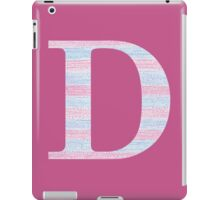 Letter D Blue And Pink Dots And Dashes Monogram Initial iPad Case/Skin