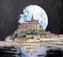 Mont St Michel, under a full moon by Bev Morgan