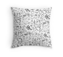 cooking and kitchen tools doodles Throw Pillow
