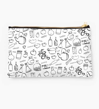 cooking and kitchen tools doodles Studio Pouch