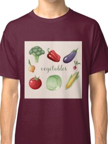 Vegetables Set in Vintage Style. Healthy Food Classic T-Shirt