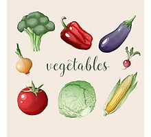 Vegetables Set in Vintage Style. Healthy Food Photographic Print