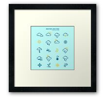 Forecast Weather and Seasonable Icons Set Framed Print