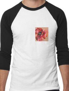 Oil Pastel Red Poppy Men's Baseball ¾ T-Shirt