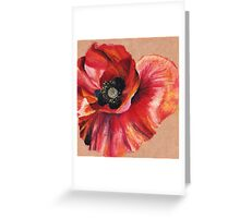 Oil Pastel Red Poppy Greeting Card