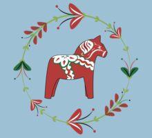 Dala Horse with Swedish Folk Art Wreath Baby Tee