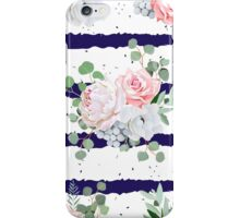 Navy striped print with bouquets of rose, peony, anemone, brunia flowers and eucaliptis leaves iPhone Case/Skin
