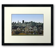 Hand Drawn San Francisco Painted Ladies Framed Print