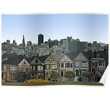 Hand Drawn San Francisco Painted Ladies Poster